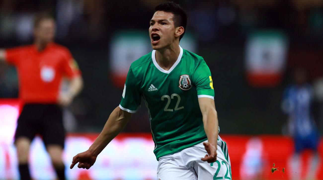 Hirving Lozano celebrates after scoring for Mexico. (Getty Images) West Ham