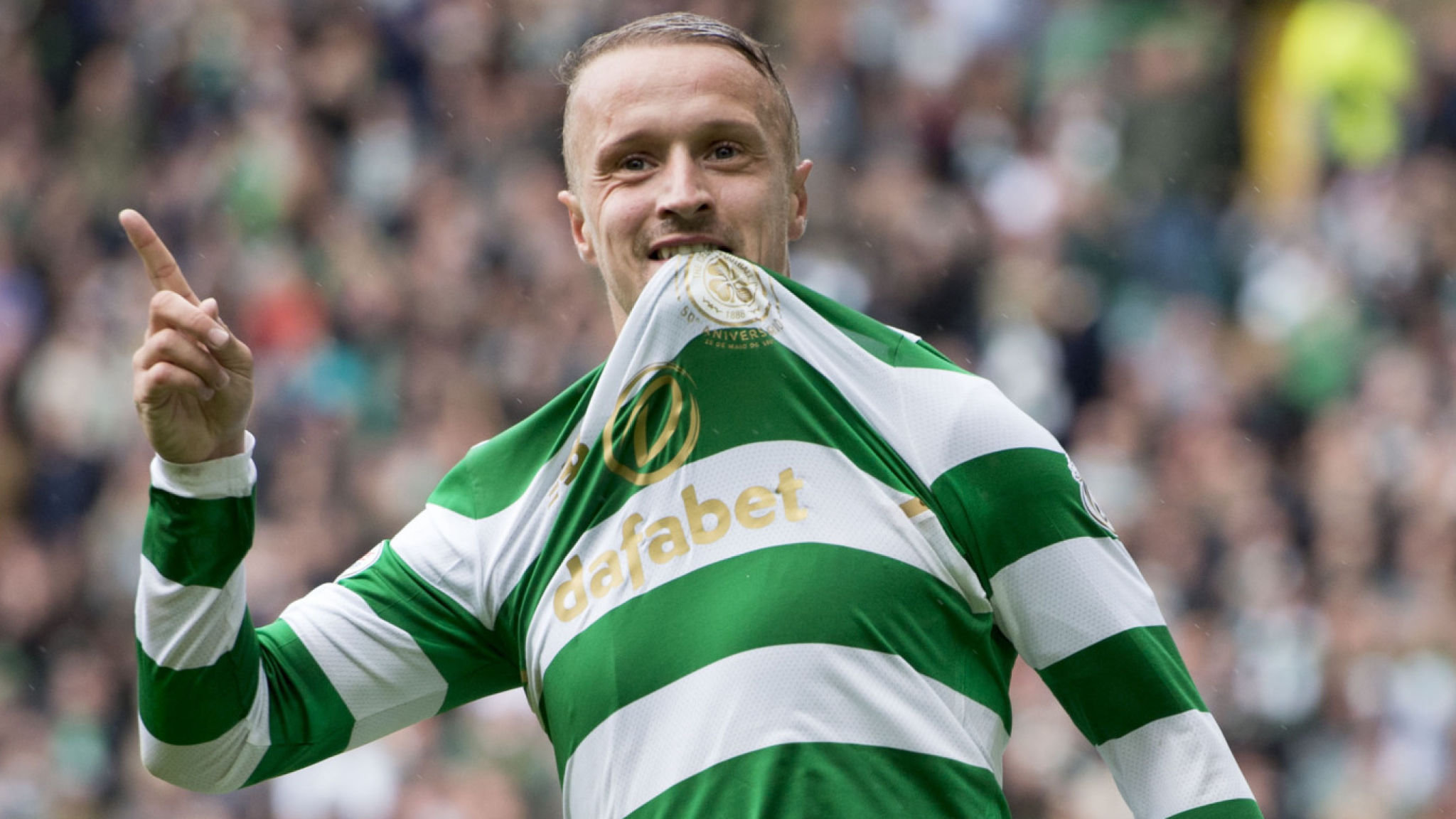 Scotsman Leigh Griffiths celebrates after scoring a goal for Celtic.