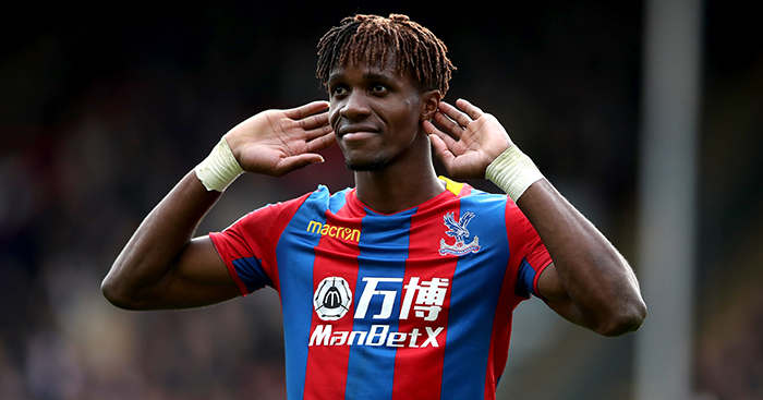 Crystal Palace star Wilfried Zaha celebrates after scoring. (Getty Images)