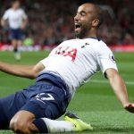 Tottenham forward Lucas Moura celebrates after scoring. (Getty Images)