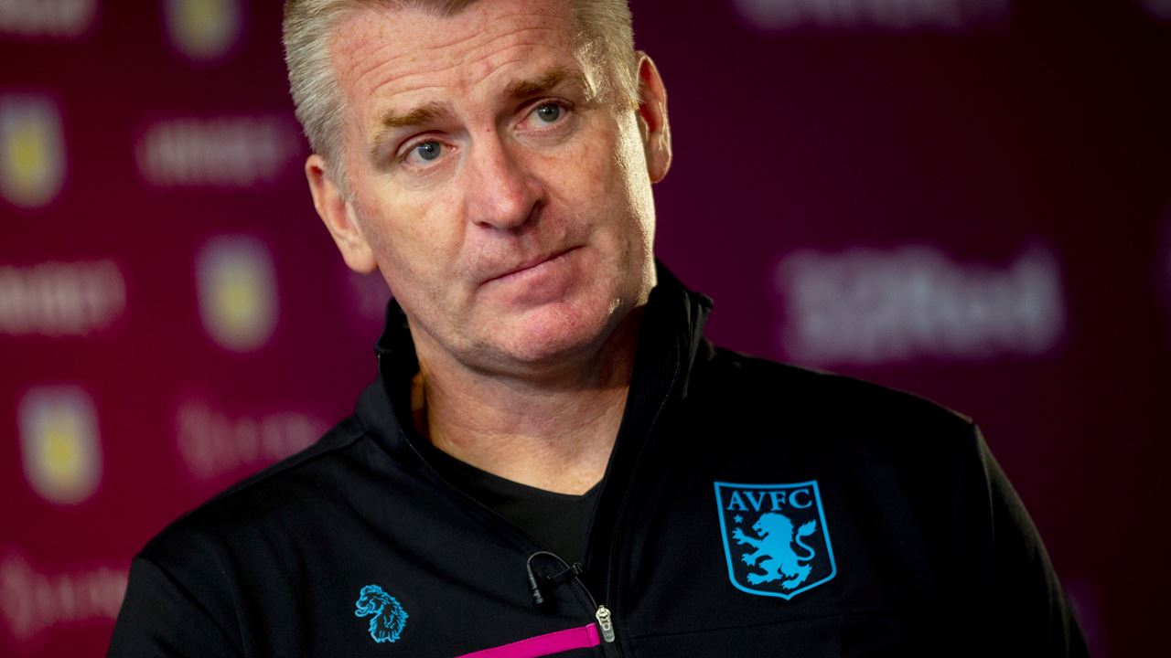 Aston Villa boss Dean Smith during a press conference.