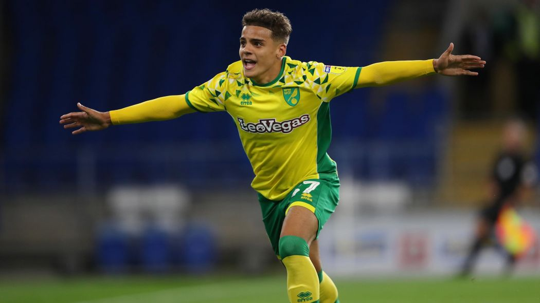 Norwich City right-back Max Aarons celebrates after scoring. (Getty Images)