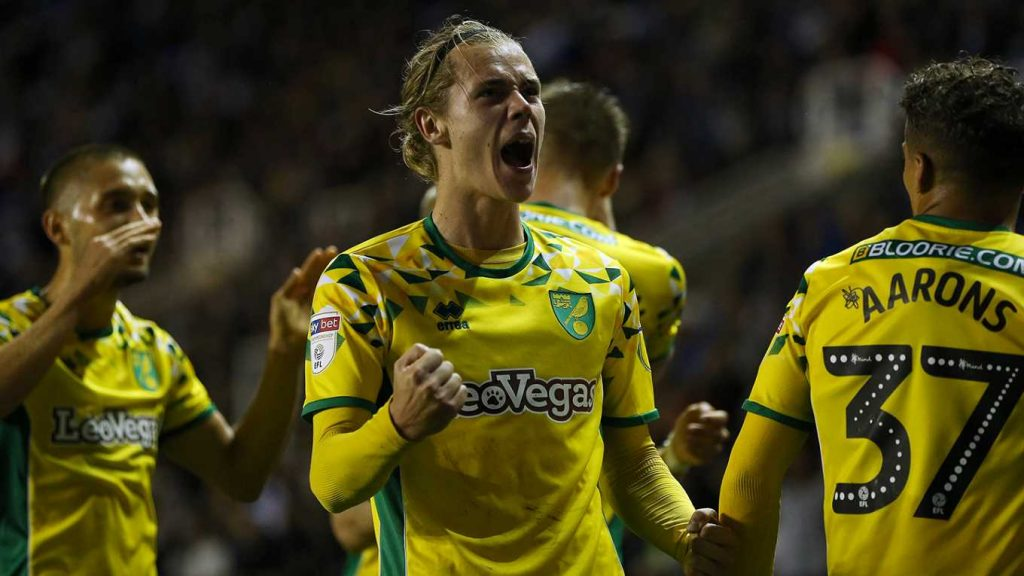 Norwich midfielder Todd Cantwell celebrates after scoring. (Getty Images)