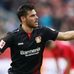 Bayer Leverkusen forward Kevin Volland celebrates after scoring. (Getty Images)