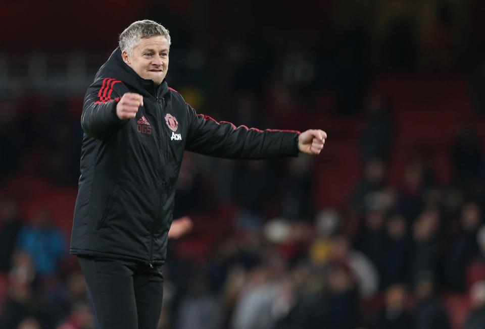 Man United boss Ole Gunnar Solskjaer celebrates on the touchline. (Getty Images)
