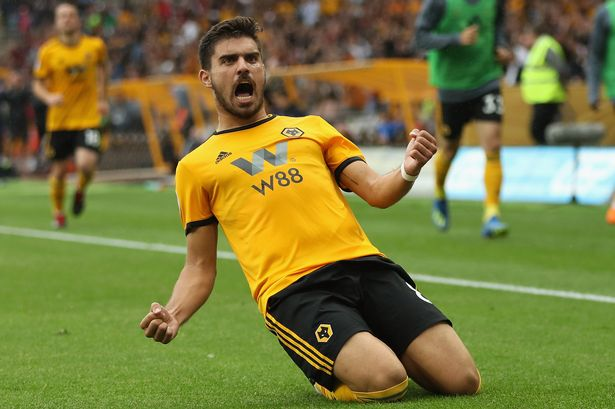 Wolves midfielder Ruben Neves celebrates after scoring. (Getty Images)