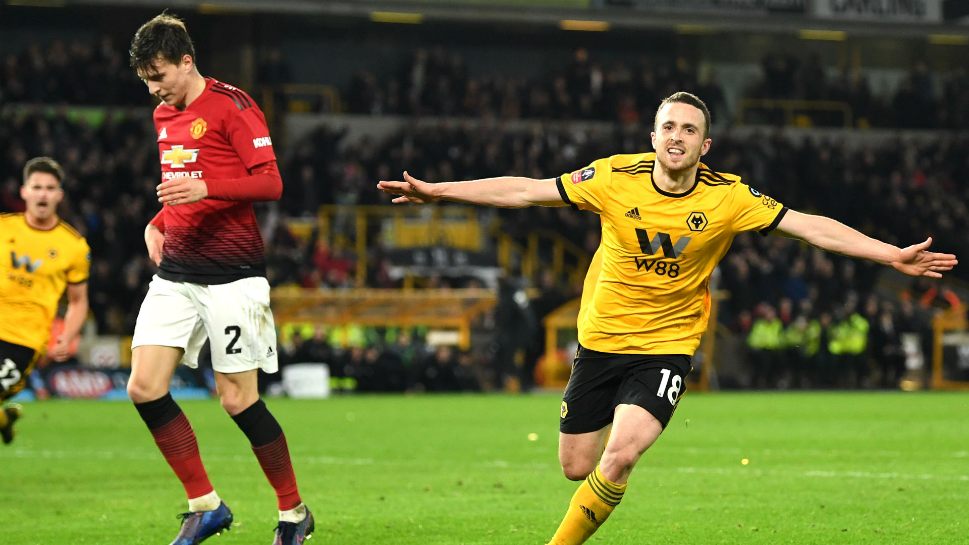 Wolves forward Diogo Jota celebrates after scoring against Man United. (Getty Images)