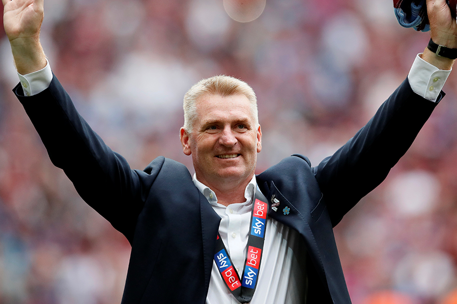 Aston Villa manager Dean Smith all smiles after he guided the club to promotion. (Getty Images)