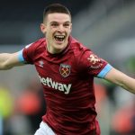 West Ham midfielder Declan Rice celebrates after scoring. (Getty Images)