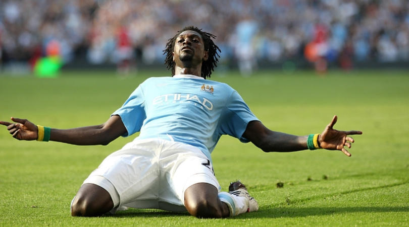 Emmanuel Adebayor during his time at Man City. (Getty Images)