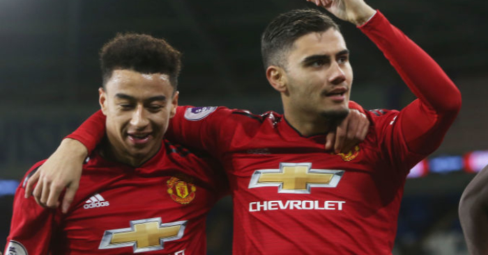 Andreas Pereira (R) celebrates with Jesse Lingard (LW). (Getty Images)