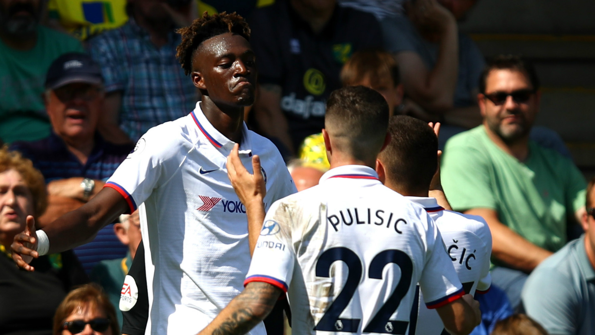 Tammy Abraham celebrates with Christian Pulisic after scoring. (Getty Images)