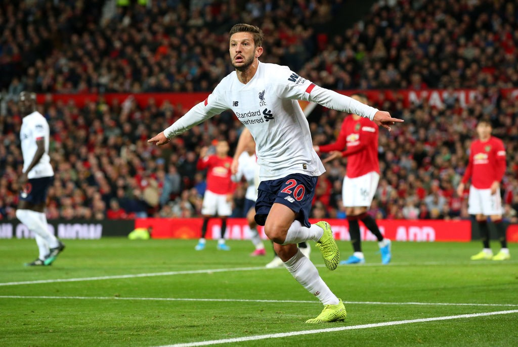 Adam Lallana celebrates after scoring against Manchester United. (Getty Images)