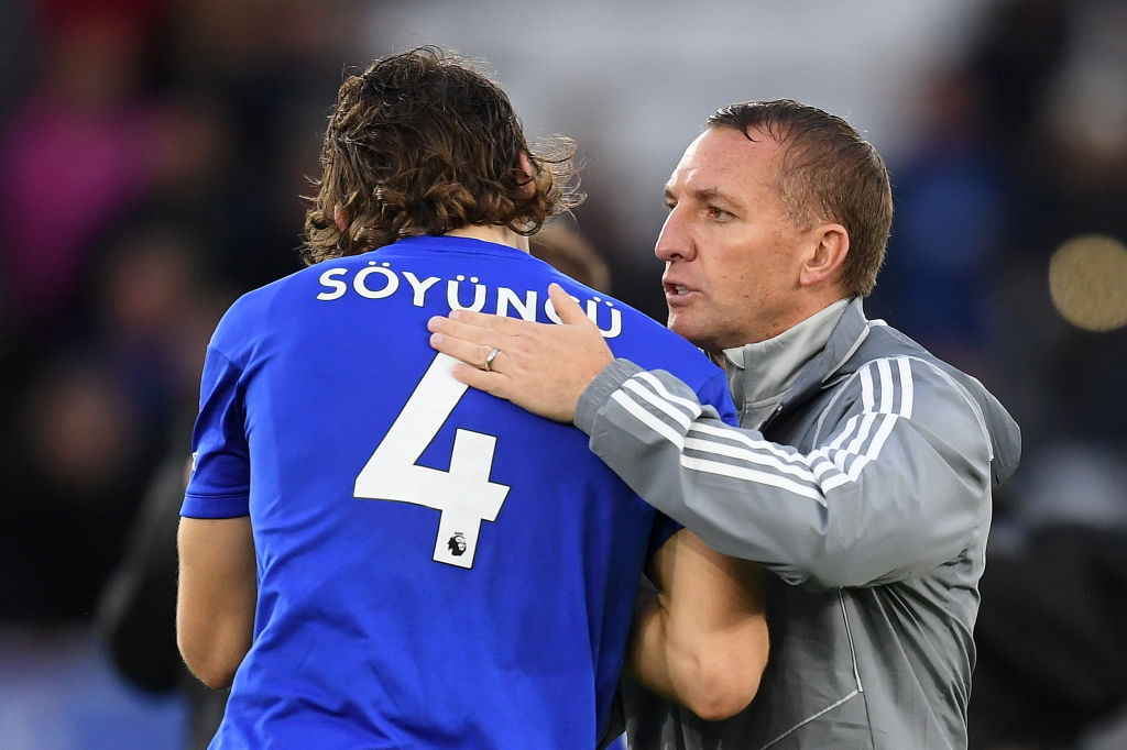 Caglar Soyuncu of Leicester City shakes hands with Brendan Rodgers, Manager of Leicester City during the Premier League match between Leicester City and Newcastle United at The King Power Stadium on September 29, 2019 in Leicester, United Kingdom. (Getty Images)