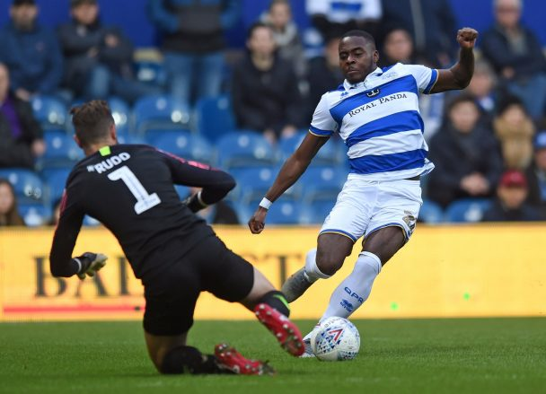 Bright-Osayi-Samuel tries to dribble past the opposition goalkeeper. (Getty Images)
