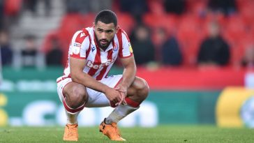Cameron Carter-Vickers of Stoke City looks dejected during the Sky Bet Championship match between Stoke City and Huddersfield Town at Bet365 Stadium on October 01, 2019 in Stoke on Trent, England. (Getty Images)