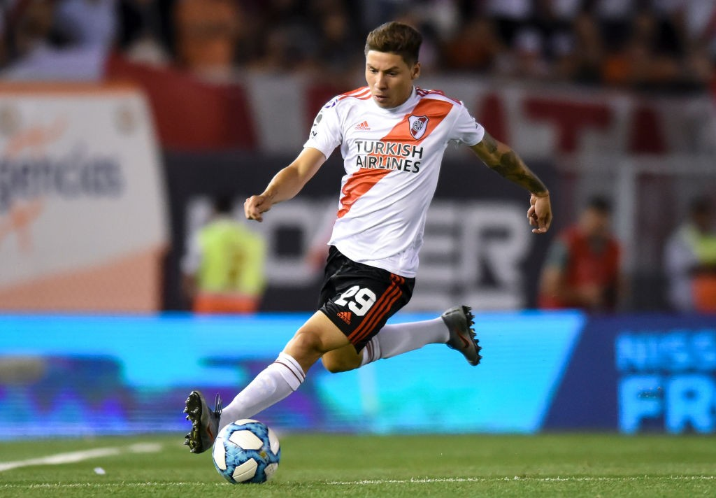 Gonzalo Montiel of River Plate drives the ball during a match between River Plate and San Lorenzo as part of Superliga 2019/20 at Estadio Monumental Antonio Vespucio Liberti on December 08, 2019 in Buenos Aires, Argentina. (Getty Images)