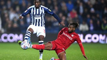 Nathan Ferguson of West Bromwich Albion competes for the ball with Kasey Palmer of Bristol City in action during the Sky Bet Championship match between West Bromwich Albion and Bristol City at The Hawthorns on November 27, 2019 in West Bromwich, England. (Getty Images)