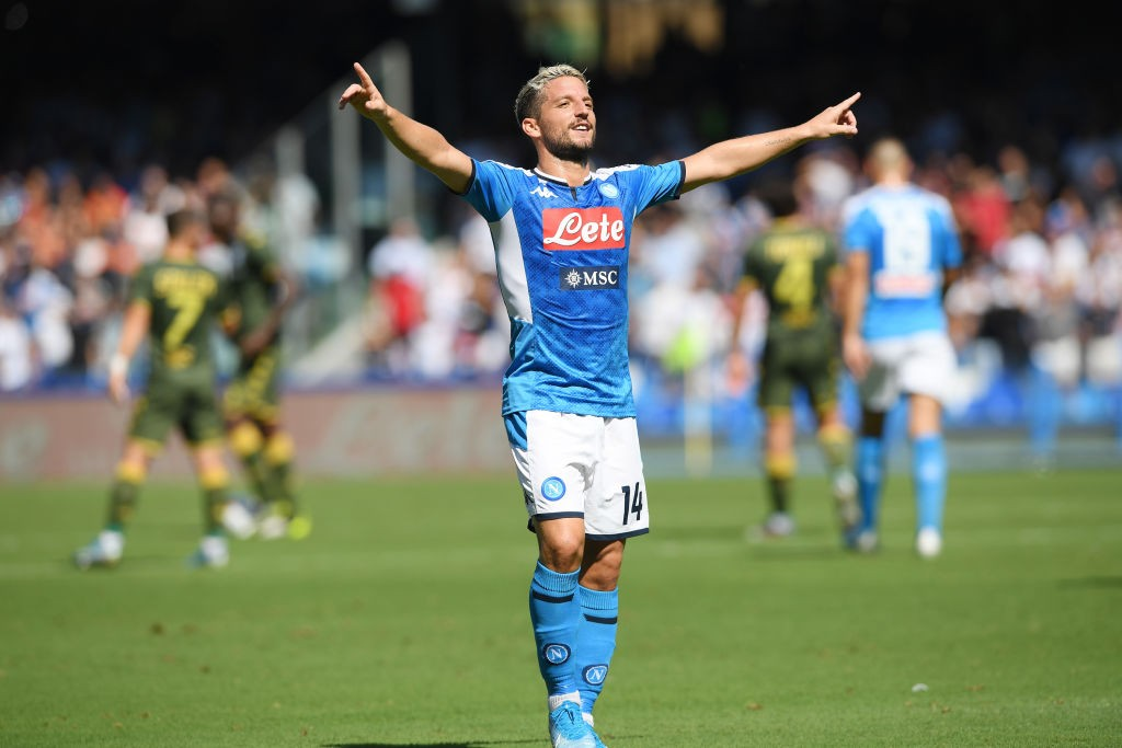 Dries Mertens celebrates after scoring. (Getty Images)