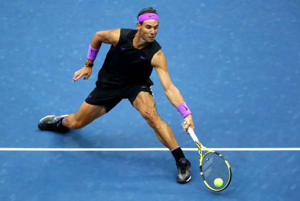 2019 men's champion Rafael Nadal in action during US Open.
