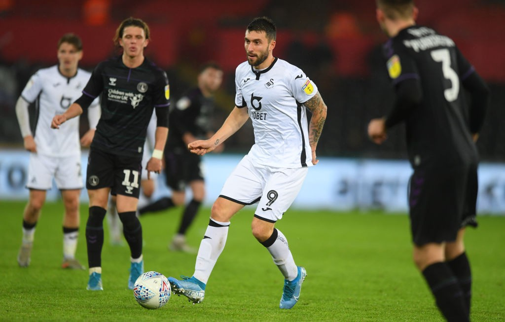 Borja Baston of Swansea City looks for a pass during the Sky Bet Championship match between Swansea City and Charlton Athletic at Liberty Stadium on January 02, 2020 in Swansea, Wales. (Getty Images)