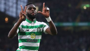 Celtic striker Odsonne Edouard celebrates after scoring. (Getty Images)