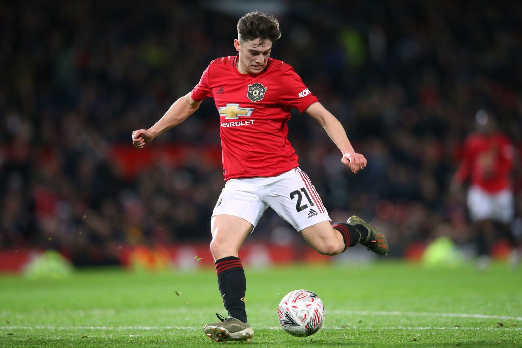 Daniel James of Manchester United shoots during the FA Cup Third Round Replay match between Manchester United and Wolverhampton Wanderers at Old Trafford on January 15, 2020 in Manchester, England. (Getty Images)