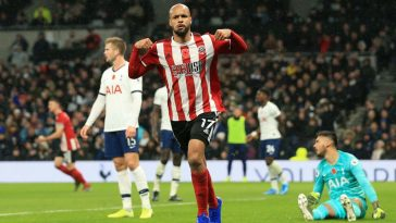 David McGoldrick of Sheffield United celebrates a goal which is then disallowed following a VAR check during the Premier League match between Tottenham Hotspur and Sheffield United at Tottenham Hotspur Stadium on November 09, 2019 in London, United Kingdom. (Getty Images)