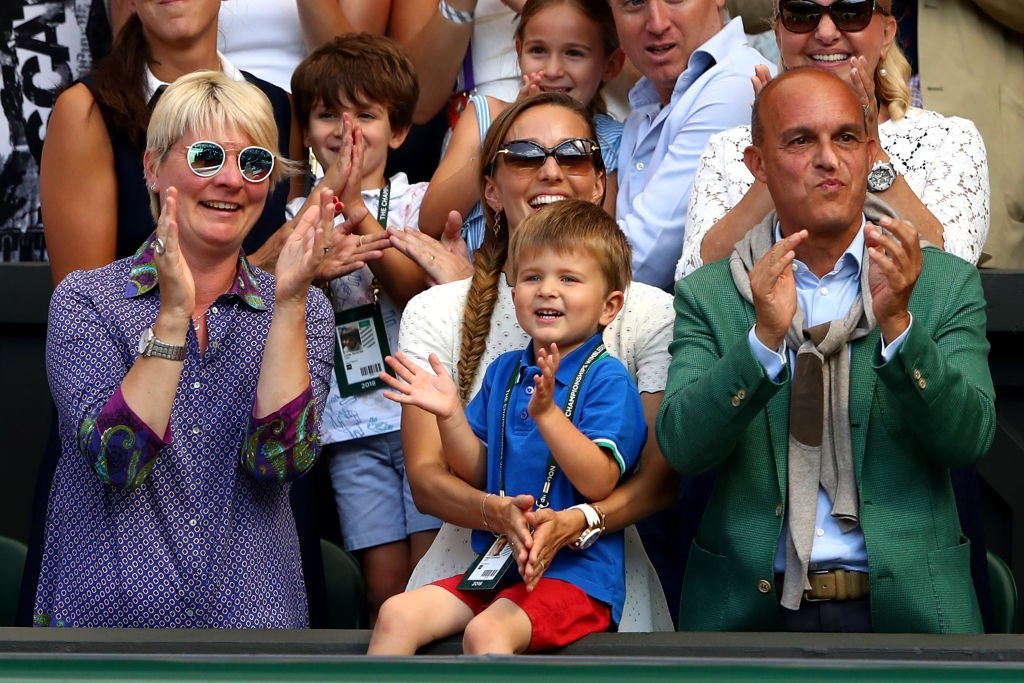 Novak Djokovic's wife, Jelena, with their son Stefan