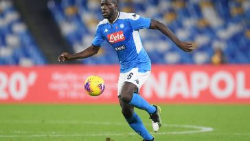 Kalidou Koulibaly of SSC Napoli during the Serie A match between SSC Napoli and Bologna FC at Stadio San Paolo on December 01, 2019 in Naples, Italy. (Getty Images)