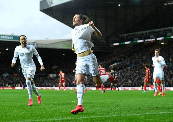 Luke Ayling of Leeds United celebrates after scoring his sides first goal during the Sky Bet Championship match between Leeds United and Bristol City at Elland Road on February 15, 2020 in Leeds, England. (Getty Images)