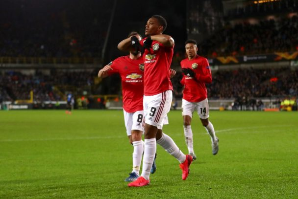 Man United players celebrate after scoring. (Getty Images)