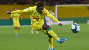 Nantes' Nigerian forward Moses Simon kicks the ball during the French L1 football match between Nantes (FCN) and Dijon (DFCO) at the Beaujoire stadium in Nantes, on December 8, 2019. (Getty Images)