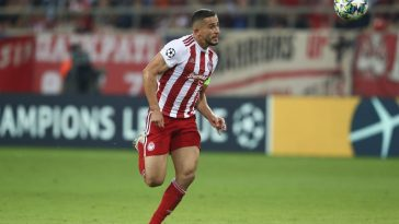 Omar Elabdellaoui of Olympiacos FC runs with the ball during the UEFA Champions League group B match between Olympiacos FC and Bayern Muenchen at Karaiskakis Stadium on October 22, 2019 in Piraeus, Greece. (Getty Images)