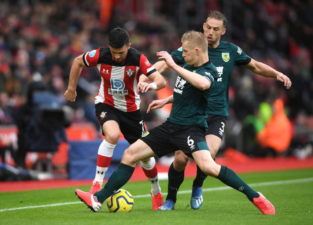 Shane Long of Southampton is challenged by Ben Mee of Burnley during the Premier League match between Southampton FC and Burnley FC at St Mary's Stadium on February 15, 2020 in Southampton, United Kingdom. (Getty Images)