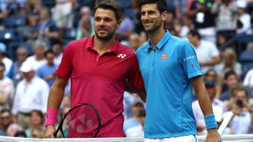Stan Wawrinka (left) of Switzerland and Novak Djokovic of Serbia pose prior to their 2016 Australian Open final. (Getty Images)