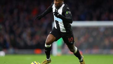 Allan Saint-Maximin of Newcastle in action during the Premier League match between Arsenal FC and Newcastle United at Emirates Stadium on February 16, 2020 in London, United Kingdom. (Getty Images)