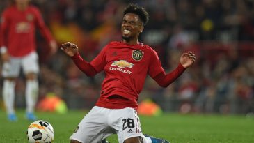 Manchester United's midfielder Angel Gomes falls during the UEFA Europa League Group L football match between Manchester United and Astana at Old Trafford in Manchester, north west England, on September 19, 2019. (Getty Images)