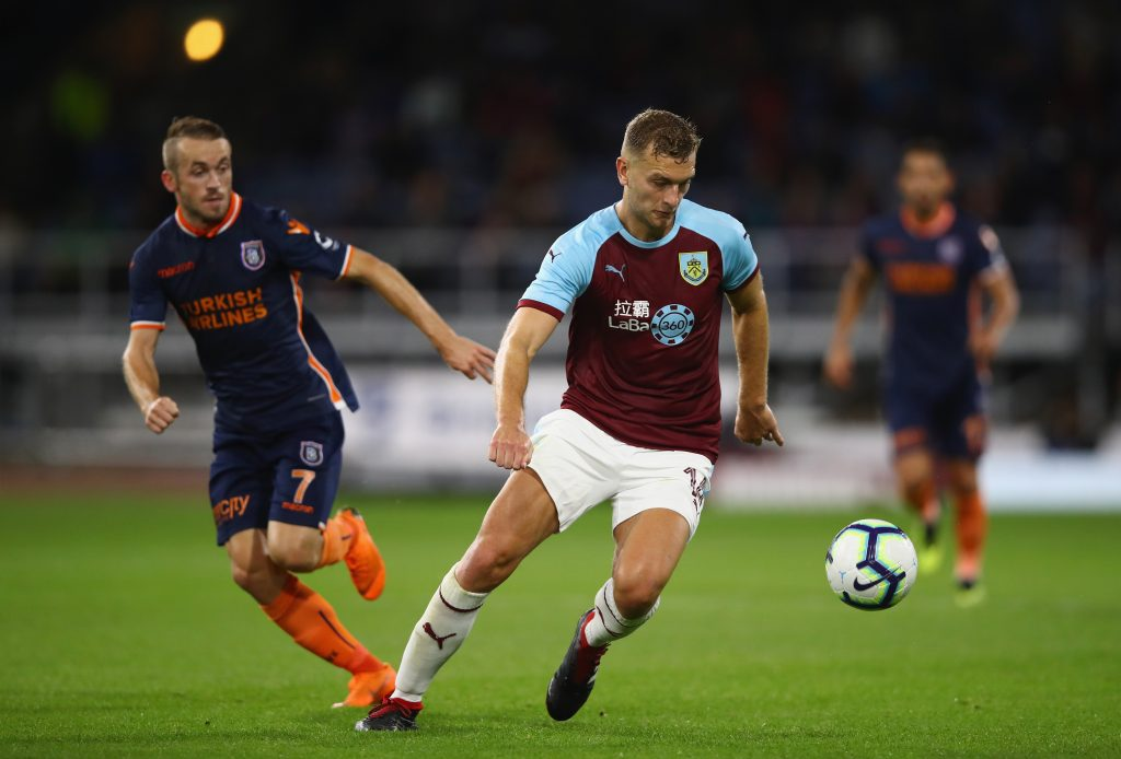 Ben Gibson of Burnley in action during the UEFA Europa League third round qualifier second leg between Burnley and Istanbul Basaksehir at Turf Moor on August 16, 2018 in Burnley, England. (Getty Images)
