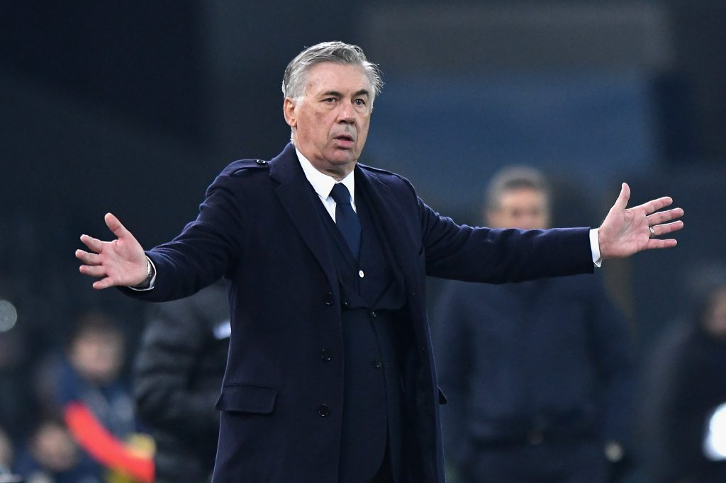 Carlo Ancelotti head coach for Everton reacts on the touchline. (Getty Images)