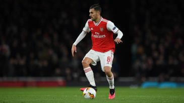 Dani Ceballos of Arsenal in action during the UEFA Europa League round of 32 second leg match between Arsenal FC and Olympiacos FC at Emirates Stadium on February 27, 2020 in London. (Getty Images)