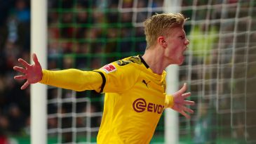 Dortmund's Norwegian forward Erling Braut Haaland celebrates after scoring during the German first division Bundesliga football match Werder Bremen vs BVB Borussia Dortmund, in Bremen, northern Germany on February 22, 2020. (Getty Images)