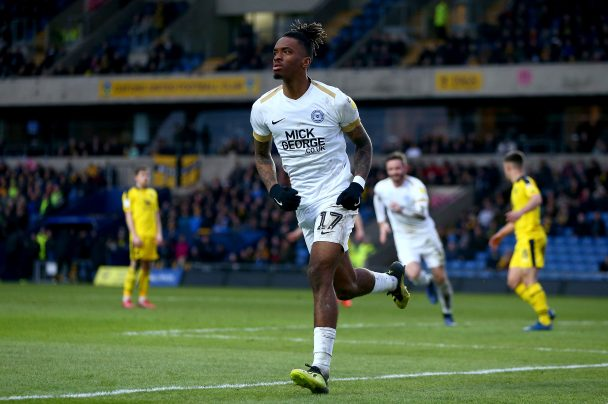 Ivan Toney of Peterborough United celebrates scoring his sides first goal during the Sky Bet League One match between Oxford United and Peterborough United at Kassam Stadium. (Getty Images)