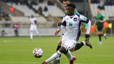 Anderlecht's Jeremy Doku pictured in action during a soccer match between Cercle Brugge KSV and RSC Anderlecht, Sunday 26 January 2020 in Brugge, on day 23 of the 'Jupiler Pro League' Belgian soccer championship season 2019-2020. (Getty Images)