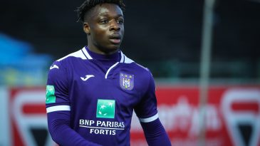 Anderlecht's Jeremy Doku pictured during a soccer match between Waasland-Beveren and RSC Anderlecht, Saturday 29 February 2020 in Beveren, on day 28 of the 'Jupiler Pro League' Belgian soccer championship season 2019-2020. (Getty Images)