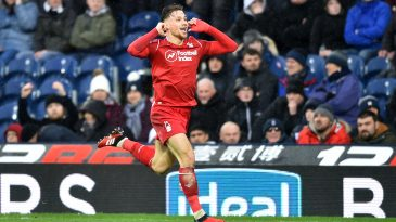 Matty Cash of Nottingham Forest celebrates after scoring his team's second goal during the Sky Bet Championship match between West Bromwich Albion and Nottingham Forest. (Getty Images)