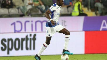 Omar Colley of UC Sampdoria in action during the Serie A match between ACF Fiorentina and UC Sampdoria at Stadio Artemio Franchi on September 25, 2019 in Florence, Italy. (Getty Images)