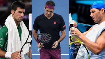 Rafael Nadal, Novak Djokovic and Roger Federer with their tennis rackets