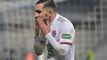 Lyons French forward Rayan Cherki celebrates after scoring a goal during the French Cup round of 64 football match between Bourg-en-Bresse (FBBP) and Lyon (OL) on January 4, 2020 at the Stade Marcel-Verchere Stadium in Bourg-en-Bresse. (Getty Images)