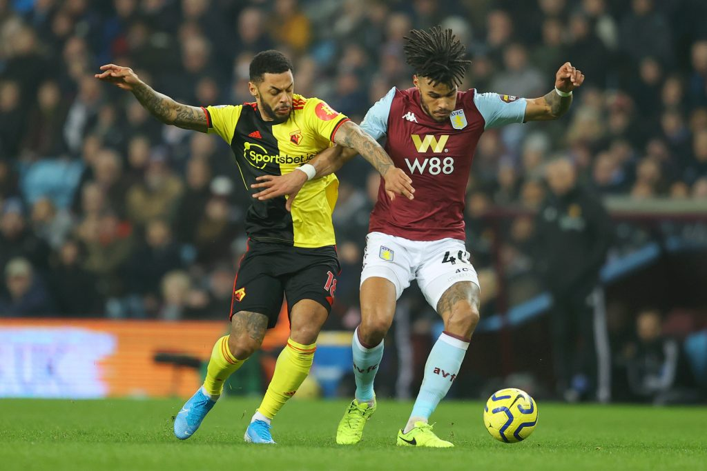 Andre Gray (L) vies for the ball with Aston Villa's Tyrone Mings (Getty Images)
